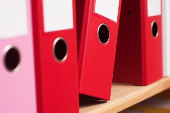 Folders on shelf